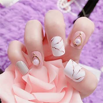Amazon.com: 24 piezas/set Pretty Pearl decoración novia uñas ...