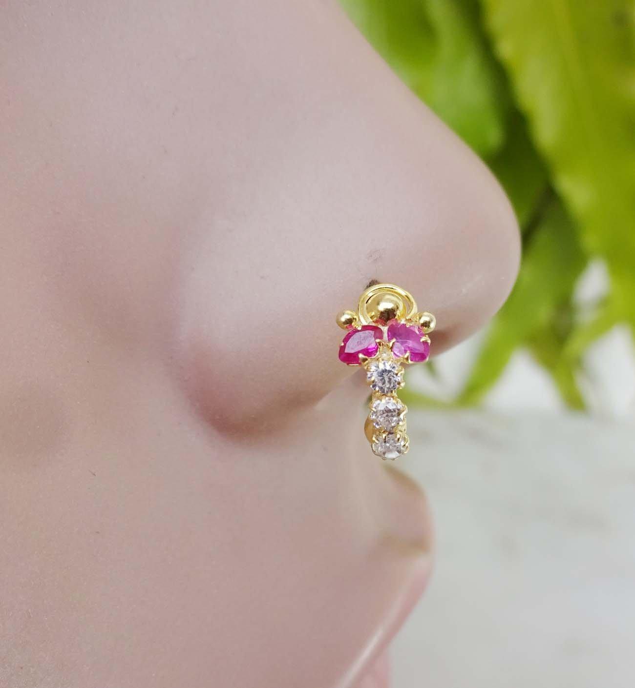 Ruby Crystal Gold Nose Ring Diamond Nose Ring Crystal Nose Ring