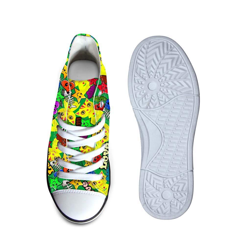 Canvas High Top Sneaker Casual Skate Shoe Boys Girls Kitten Cat Dream Fish Bones