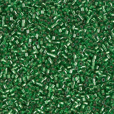 Miyuki Delica 15/0 Cylinder Seed Beads - Silver Lined Green - DBS0046 5 grams