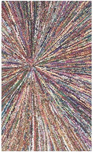 Safavieh Nantucket Collection NAN319A Handmade Abstract Burst Multicolored Cotton Area Rug 2 x 3