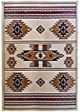 Rugs 4 Less Collection Southwest Native American Indian Area Rug Design R4L SW3 in Beige / Berber (5'x7')