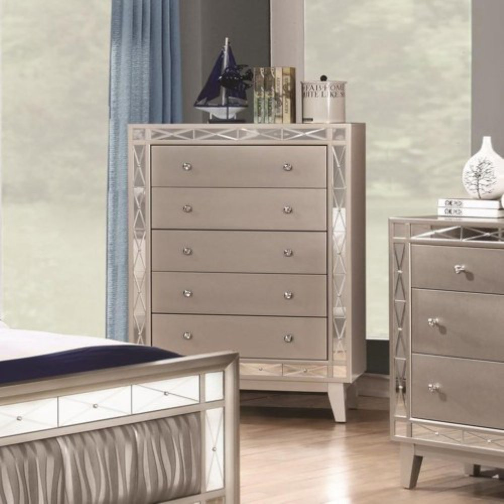 Coaster Leighton Collection 204925 32'' Chest with 5 Drawers Mirror Panel Accents Crystal Knobs Poplar Wood and Asian Hardwood Frame in Mercury Metallic by Coaster Home Furnishings