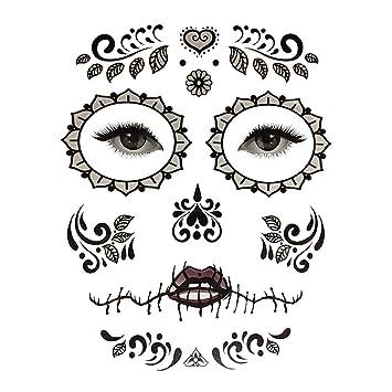 Kit de Etiquetas Engomadas Temporales Tatuaje Cara Día de Muertos ...