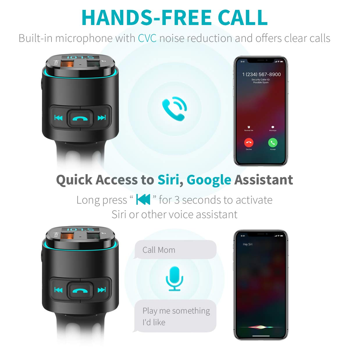 ORIA Transmetteur FM Kit Transmetteur FM Bluetooth