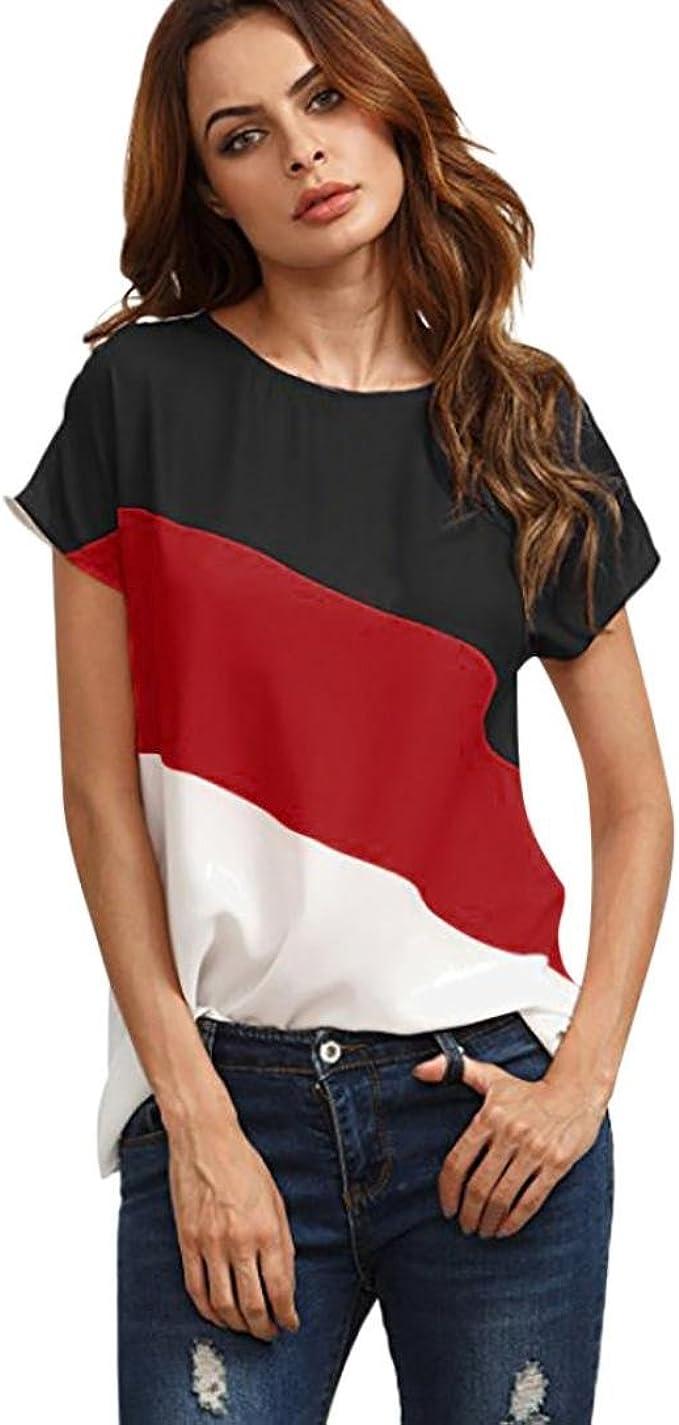 OverDose blusas Camisas Casual de Manga Corta de Gasa de Color Block para Mujer Blusas de túnica (S, Rojo): Amazon.es: Ropa y accesorios