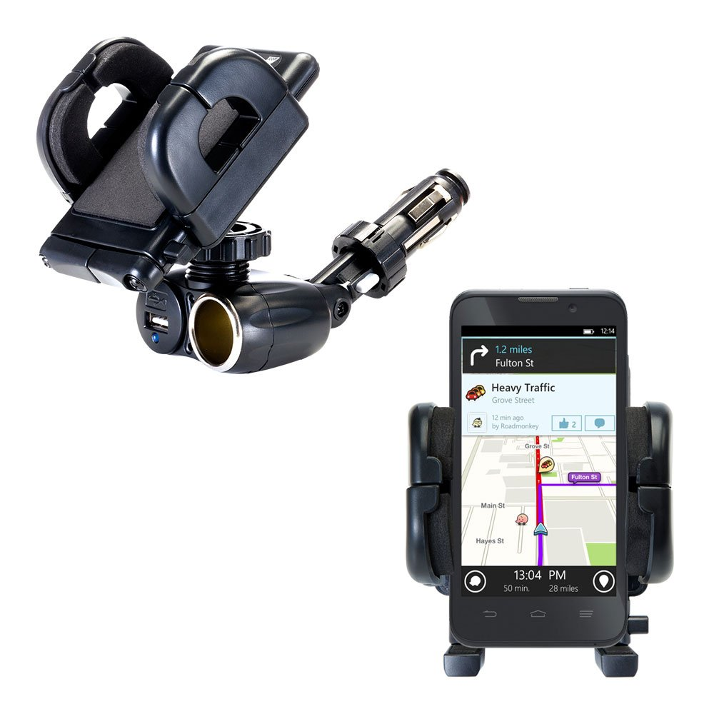 Unique Auto Cigarette Lighter and USB Charger Mounting System Includes Adjustable Holder for the ZTE Mustang Z998