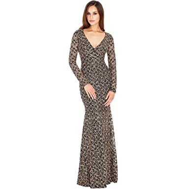 6845482926b City Goddess London DR251 Black   Gold Sequin V Front Open Back Long Dress  UK 8 (US 4)  City Goddess London  Amazon.co.uk  Clothing