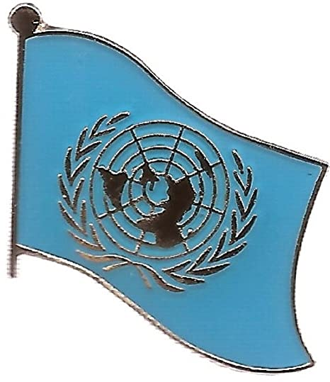 Box of 12 United Nations Flag Lapel Pins, UN Single Flag Pin, UN Tie & Hat  Pin Badges