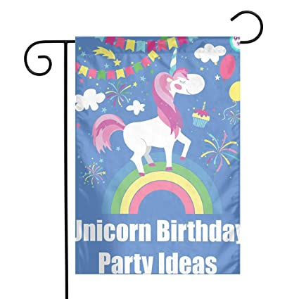 Unicorn Birthday Party Ideas Garden Flags Home Indoor Outdoor Welcome DecorationsWaterproof Polyester Yard