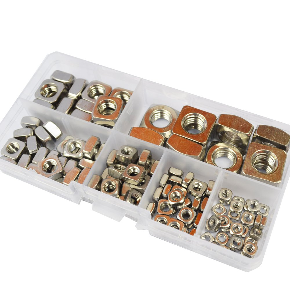 DIN557 Square Nuts M3 M4 M5 M6 M8 M10 Metric Coarse Thread Nut Assortment Kit 304 Stainless Steel 140Pcs