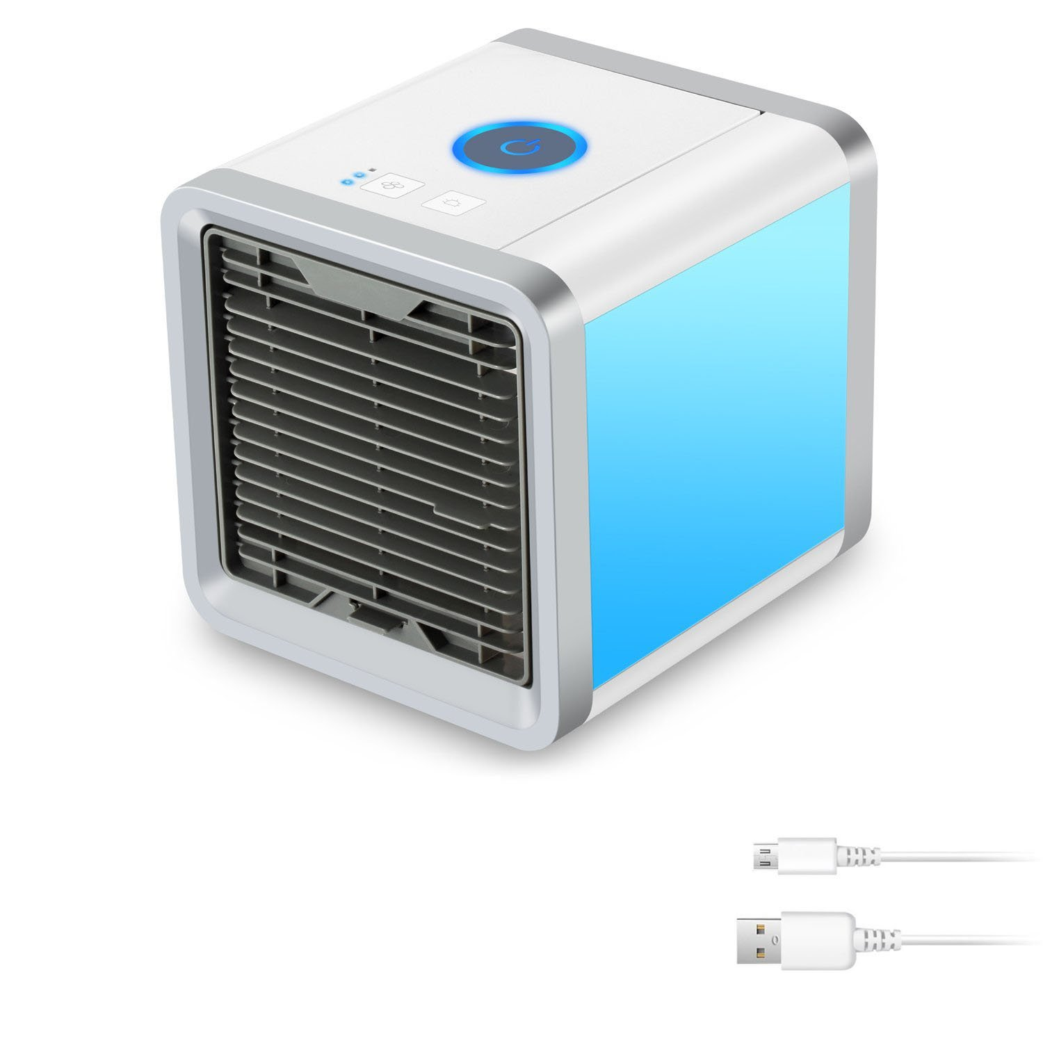 Personal Space Cooler 3-in-1 Evaporative Air Conditioner, Humidifier, Air Purifier, 3 Fan Speeds, 4 Foot Cooling Area, Portable for Bedroom, Work, Outdoors, USB or Conventional for Energy Savings