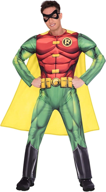 Mens Robin Batman Hero 2nd Skin Jumpsuit Bodysuit Fancy Dress Costume Outfit