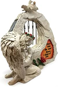 Memorial Garden Statue with Wind Chimes & Solar Led Lights Kneeling Angel Figure Praying Angel Sculpture for Outdoor