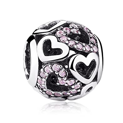 1263096a5 LafeeJewels Heart Charms Fit Pandora Bracelets Pink Openwork Genuine  Sterling Silver Birthday Gifts for Girl Freinds: Amazon.co.uk: Jewellery