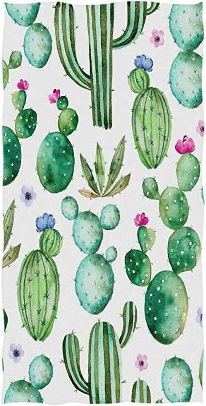 Watercolor Flowers Cactus Hand Towels 30 X 15 Inch Cactus Bath Bathroom Shower Towels Multipurpose Towels Highly Absorbent For Bath Hand Face Gym Spa Kitchen Dining Amazon Com