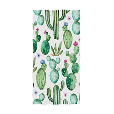 Watercolor Flowers Cactus Hand Towels 30 X 15 Inch,Cactus Bath Bathroom Shower Towels Multipurpose Towels Highly Absorbent for Bath,Hand,Face,Gym,Spa