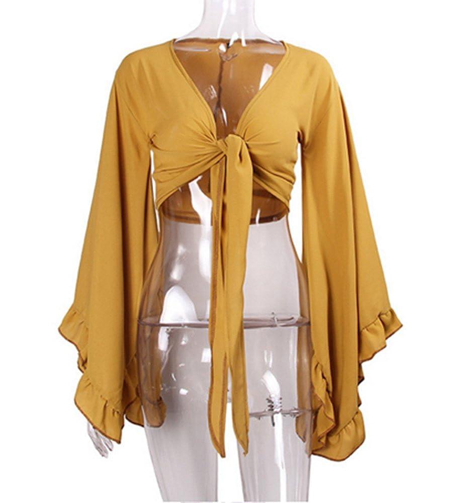 Huateng Frauen Casual Trompete /Ärmel V-Ausschnitt Chiffon Asymmetrische Lose Strand Sonnencreme Smock Shirt Top