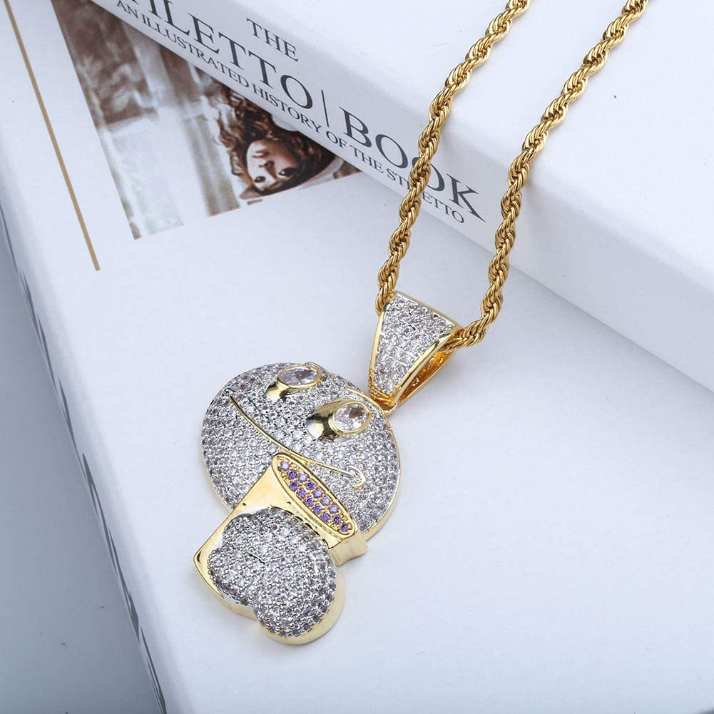 MKHDD Personality Unisex Gold Plated Chain Hip Hop Chain Zircon Rhinestone Emoji Pendant Necklace for Men Women Rap Punk Jewelry