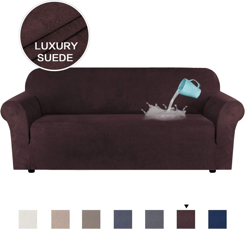 H.VERSAILTEX - Funda de sofá de terciopelo de alta elasticidad para 1/2/3 plazas repelente al agua, protector de muebles de ante, varios colores., Cuero y ante, marrón, 3 Seater:173-245cm