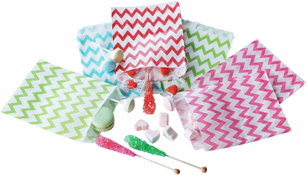 5 x 7 by S... 100 x Pink /& White Candy Stripe Striped Paper Sweet Party Bags