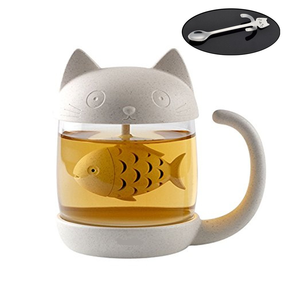 YOUNING Cute Cat Tea Cup, Fish Filter Cute Cat Glass Cup with Stainless Steel Coffee Spoon Mini Cat