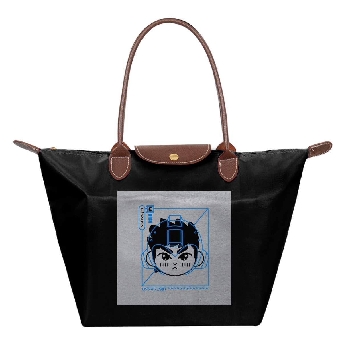 Cyber Helmet Rokkuman Mega Man Version II Waterproof Leather Folded Messenger Nylon Bag Travel Tote Hopping Folding School Handbags