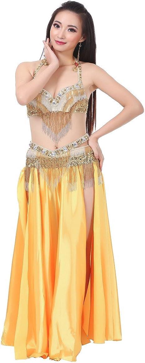 Astage Mujer Danza Vientre Disfraz Falda De Satén Tribal 2 Lados ...