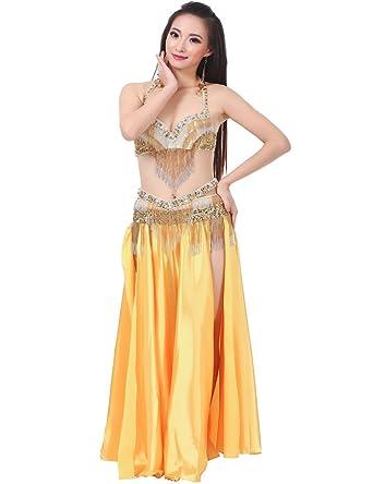 Astage Mujer Danza Vientre Disfraz Falda De Satén Tribal 2 Lados Separados Maxi Amarillo: Amazon.es: Ropa y accesorios