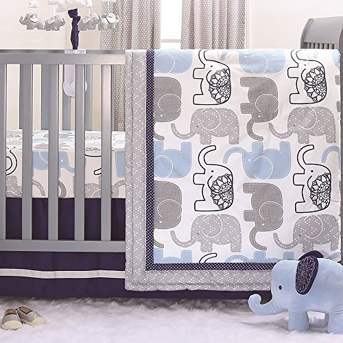 Little Peanut Navy Blue and Grey Elephants 3 Piece Baby Crib Bedding Set - Zoo Crib Bedding Collection