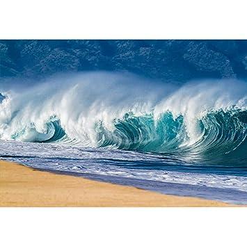 Amazoncom Leowefowa Vinyl 7x5ft Big Shore Break Ocean