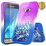 samsung galaxy j1 2016 Galaxy Luna Case, Express 3, Galaxy Amp 2 w/ [Tempered Glass Screen Protector], NageBee Glitter Quicksand Liquid Flowing Shiny Sparkle Bling Cute Case for Samsung Galaxy J1 2016 (J120) -Purple/Blue