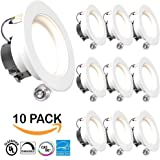 "SUNCO 10 PACK - 11Watt 4""- Inch ENERGY STAR UL-Listed Dimmable LED Downlight Retrofit Baffle Recessed Lighting Kit Fixture, 3000K Warm White LED Ceiling Light, Wet Location -- 600LM, CRI 90"