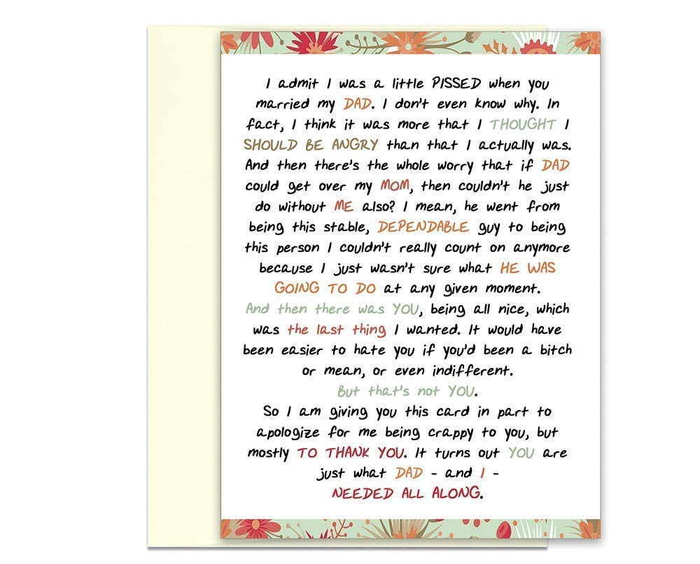 Mom Card for Step-mother from Stepdaughter or Stepson Step Mom Card for Mothers Day Stepmother Greeting Card