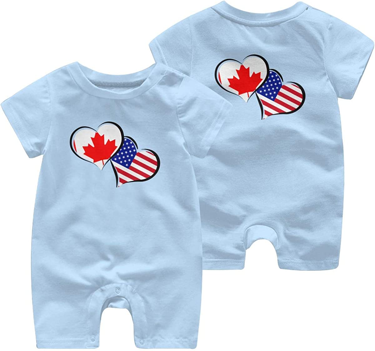 Baby Boy Coverall Canada American Flag Hearts Love Infant Short Sleeve Romper Jumpsuit