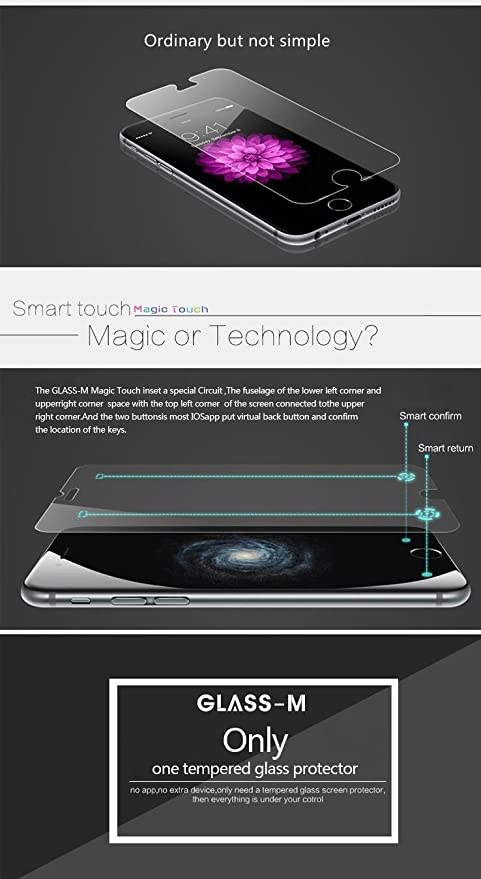 For Apple iPhone 6 6S /& iPhone 7 4.7 /& Return Key Confirm Key GLASS-M iPhone 6 6S Smart Touch Button Tempered Glass Screen Protector W Smart