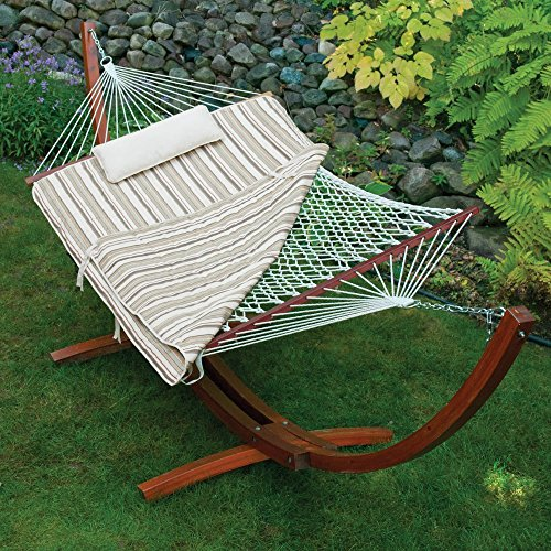 Island Bay 11 ft. Cotton Rope Hammock with Wood Stand, Pillow and - Bay Hammocks Island