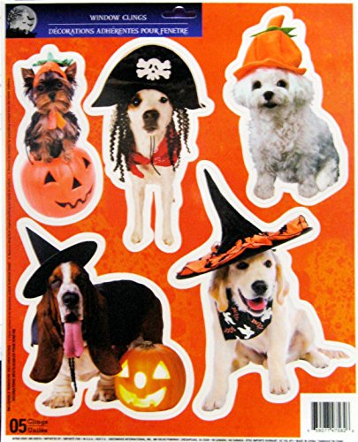 Window Costume (Halloween Window Clings For Dog Lovers 5 Dogs Wearing Halloween Costumes Pumpkin, Pirate, Witch)