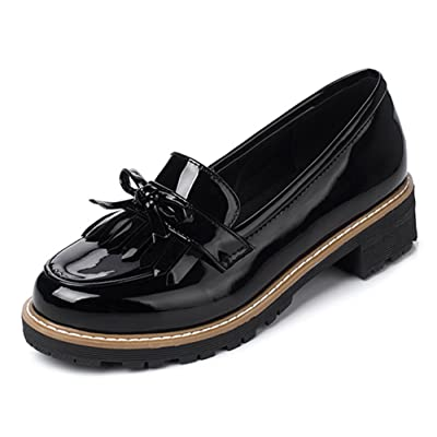 Aisun Women's Fringed Round Toe Low Cut Dressy Chunky Low Heels Slip On Loafers Shoes With Bows