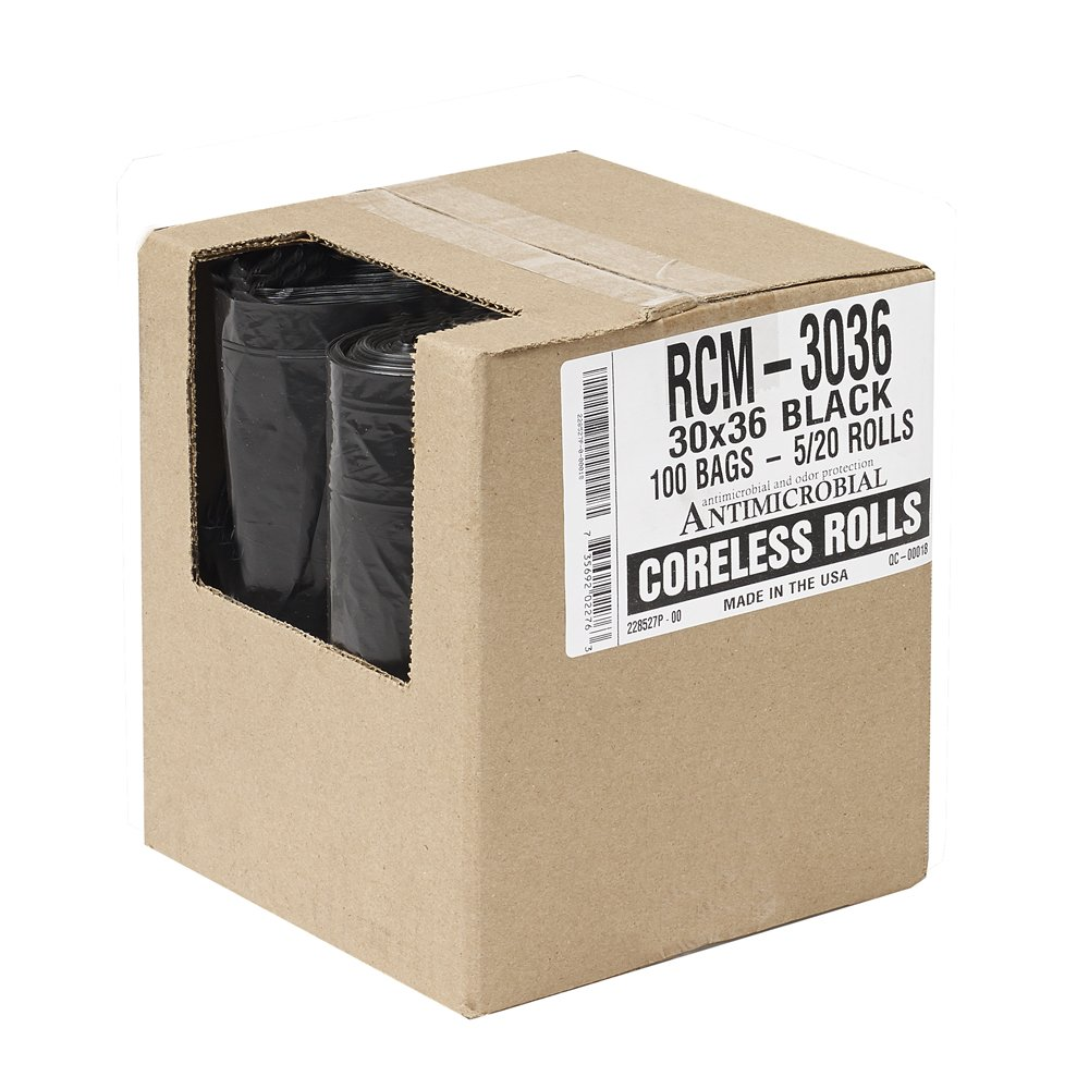 Aluf Plastics RCM-3036 Coex + Antimicrobail Low Density Blend Star Seal Bag on Coreless Roll, 20-30 Gallon Capacity, 36'' Length x 30'' Width, 45 lbs Max Load, Black (Pack of 100) by Aluf Plastics