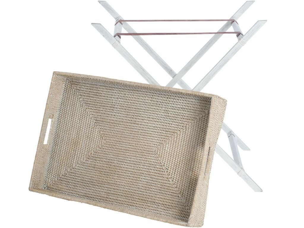 KOUBOO La Jolla Rattan Butler Tray with Folding Wood Stand, White Wash