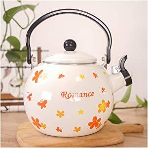 Kettle Whistle Enamel Kettle Vintage Coffee Pot Water Teapot Colorful for Induction Cooker Hob Or Stove Top Cooker Gas Stoves, Induction Pot White Printed Yellow Flower 2L (Color : Orange)