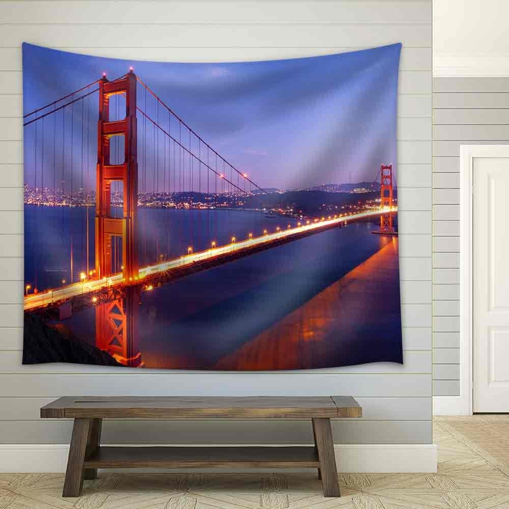 wall26 - Golden Gate Bridge at Twilight. San Francisco, USA. - Fabric Wall Tapestry Home Decor - 68x80 inches