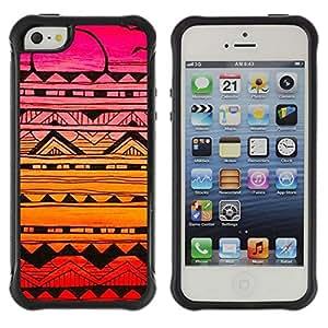 "Pulsar iFace Series Tpu silicona Carcasa Funda Case para Apple iPhone SE / iPhone 5 / iPhone 5S , Hecho a mano Sunset Dibujo Tinta Rosa"""