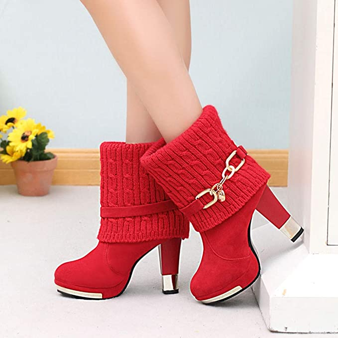 Amazon.com: Tuu Womens Ankle Boots Fashion Sexy High Heel Boots Warm Lady Boots (39, Red): Garden & Outdoor