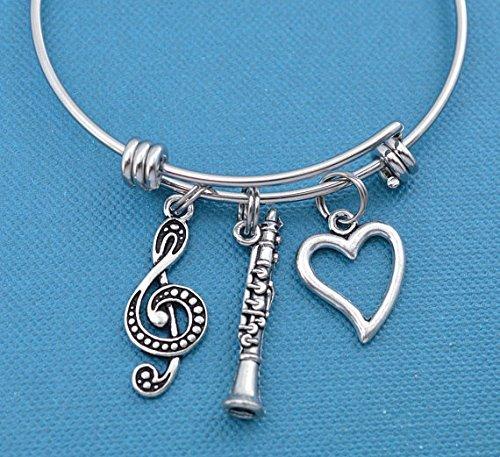 Little Girls Clarinet Bangle Bracelet in stainless steel. Little girls jewelry. Little girls bracelet. Clarinet bracelet. Clarinet (Basket Bangle Bracelet)