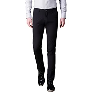 083af9c234be Mens Dress Pants Wrinkle Free Slim Fit Tapered Stretch Flat Front Suit Pants