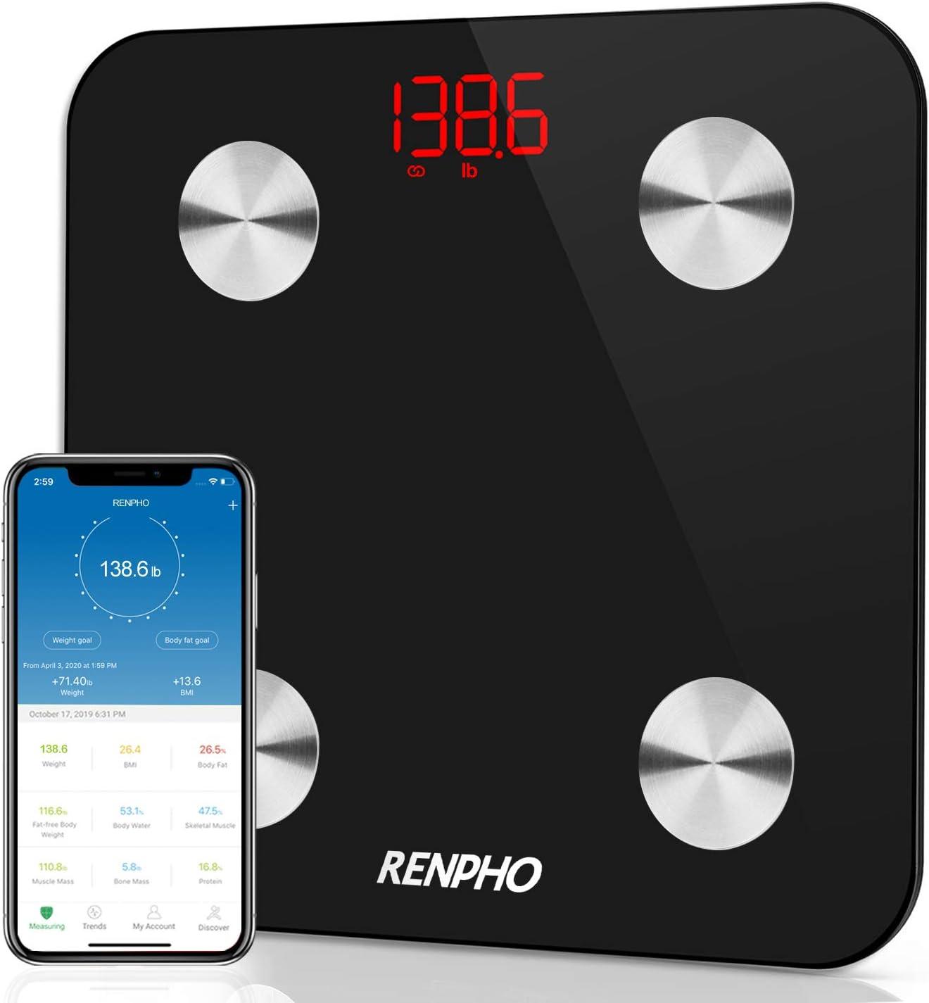 Renpho - Báscula de baño conectada con Bluetooth, con 13 datos corporales para el fitness (BMI, músculo, agua), grasa corporal y masa ósea