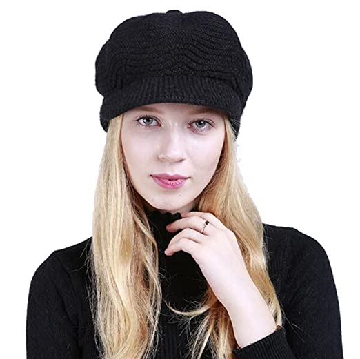1f873cf38 Winter Warm Hat For Women Fashion Knitted Hat Acrylic Fibers Snow Ski Caps  With Visor