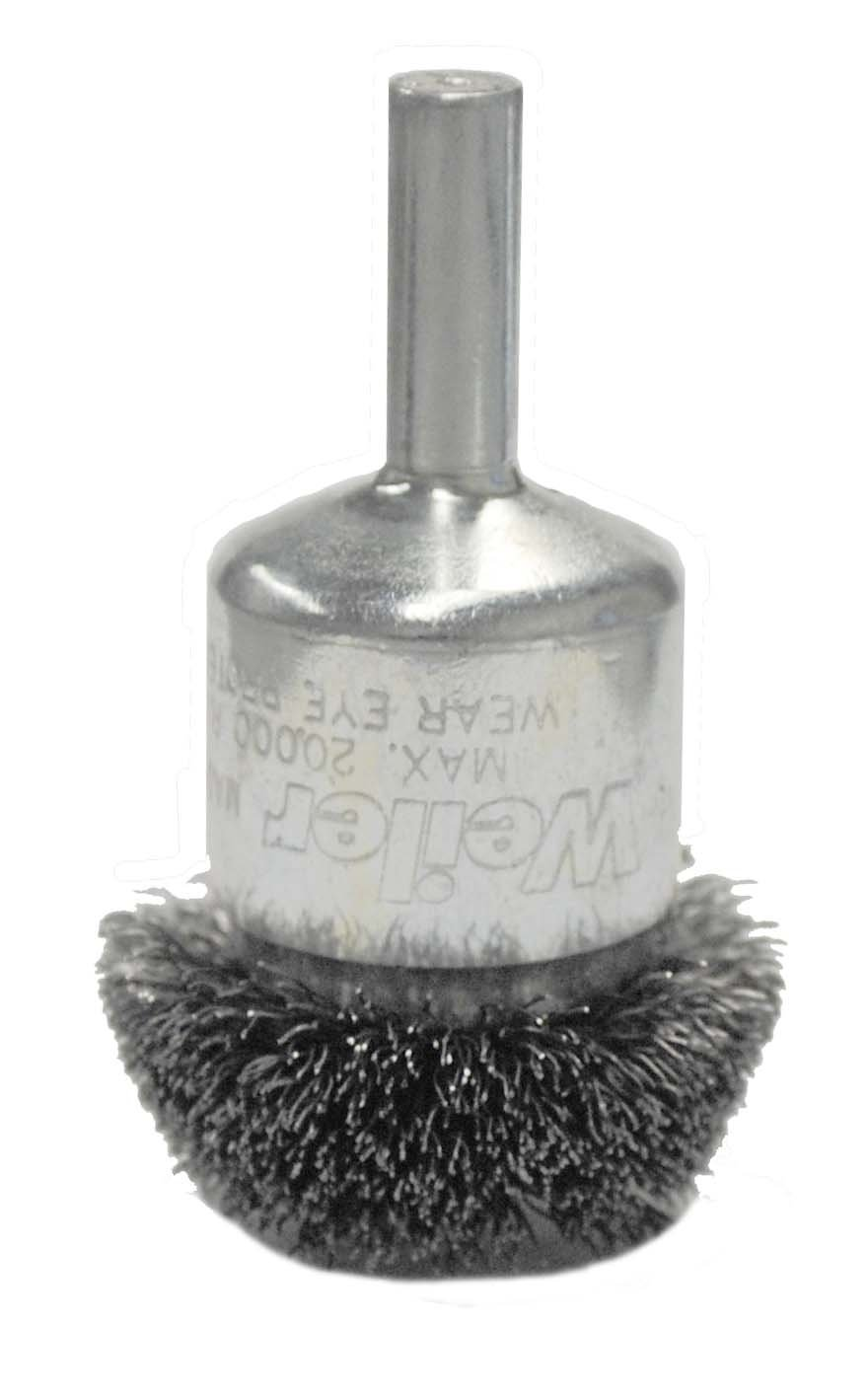 Weiler 10047 Circular Flared Crimped Wire End Brush, 1-1/2'', 0.20'' Stainless Steel Fill